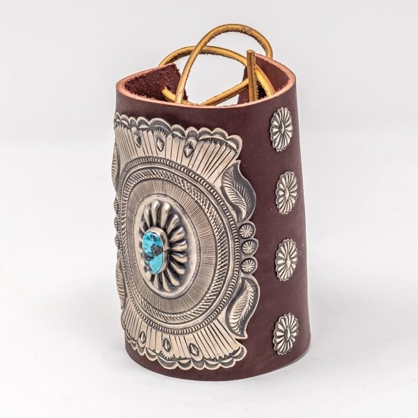Silver & Turquoise Leather Cuff JE180013