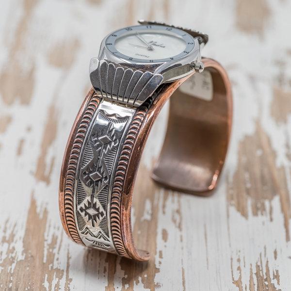 Men's Copper & Silver Watch by Randy Secatero JE180106