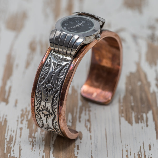 Women's Copper & Silver Watch by Sylvana Apache & Randy Secatero JE180107