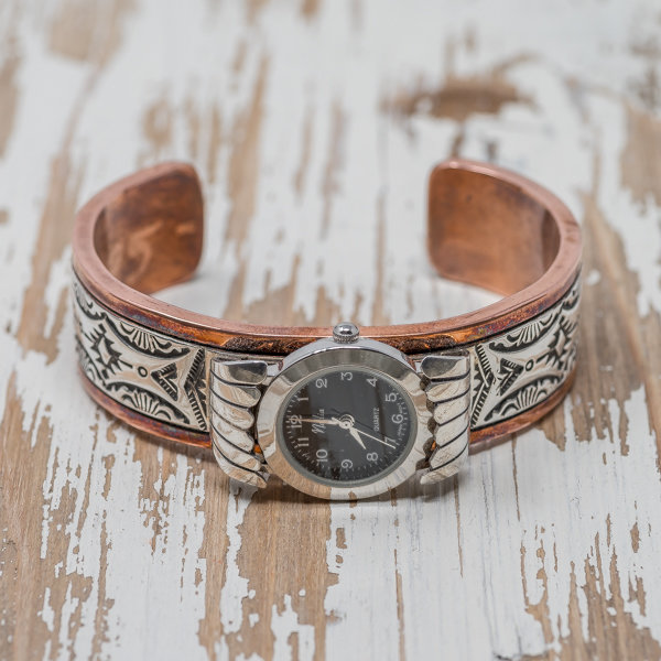 Women's Copper & Silver Watch by Sylvana Apache & Randy Secatero