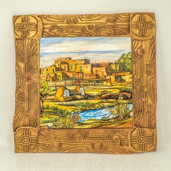"""Kenarova Canvas on Clay """"Taos Pueblo"""" Large SG180004"""