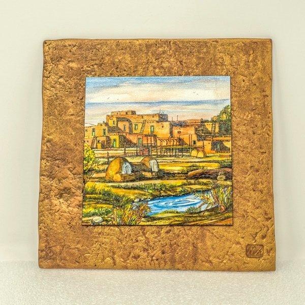 """Kenarova Canvas on Clay """"Taos Pueblo"""" Small SG180005"""