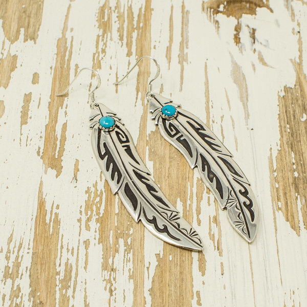 Silver Feather Earrings with Turquoise by T&R Singer JE180042