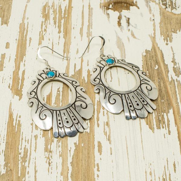 Silver & Turquoise Earrings by T&R Singer JE180043