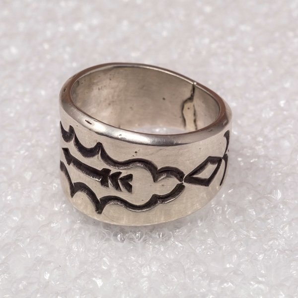 Tommy Jackson Silver Handstamped Arrow Ring
