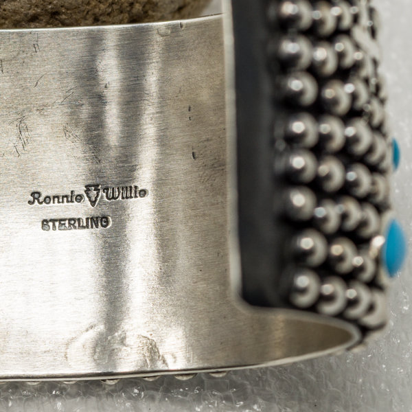 Sterling Silver Wide Cuff Bracelet with Sleeping Beauty Turquoise by Ronnie Willie