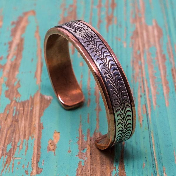 Sylvana Apache & Randy Secatero Copper Bracelet - Cornstalk Design JE180114