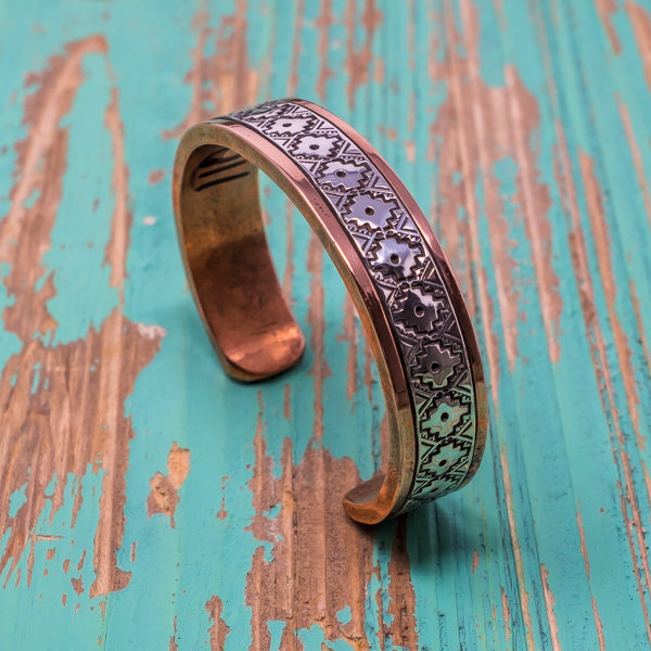 Sylvana Apache & Randy Secatero Copper Bracelet - Geometric Design JE180115