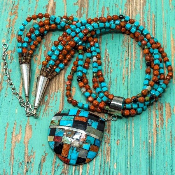 Priscilla Nieto 5-Strand Mosaic Shell Pendant Necklace JE180118