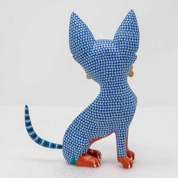 Oaxacan Wood Carving - Chihuahua In Blue