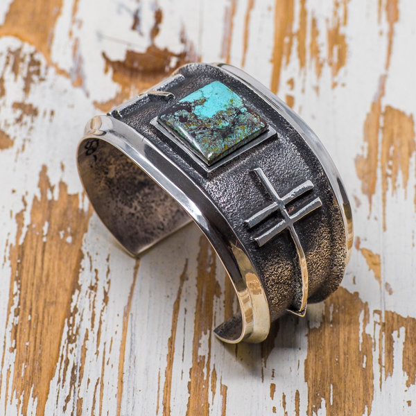 Aaron Anderson Black Nevada Canyon Turquoise Cuff JE180129