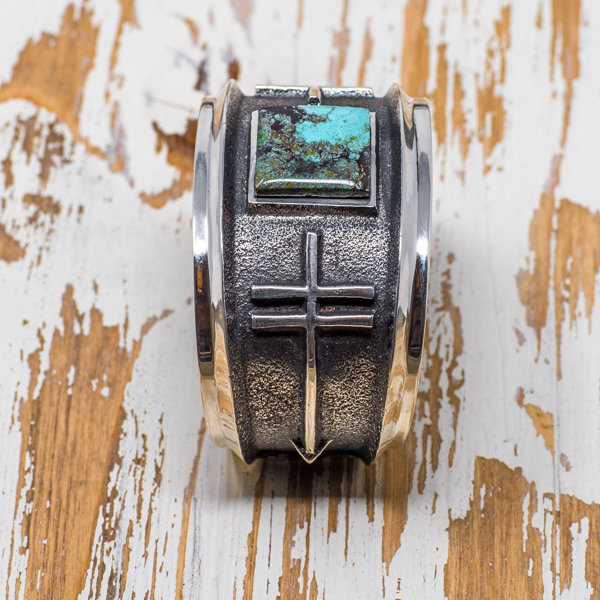 Aaron Anderson Black Nevada Canyon Turquoise Cuff