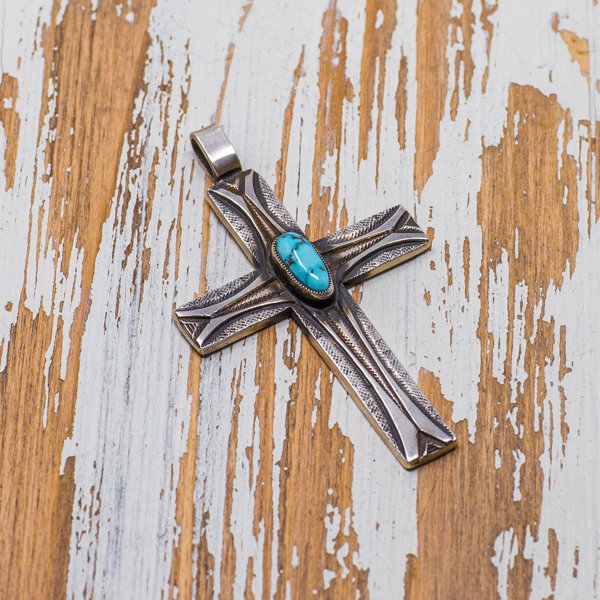 Calvin Martinez Turquoise Mountain Cross Pendant JE180136