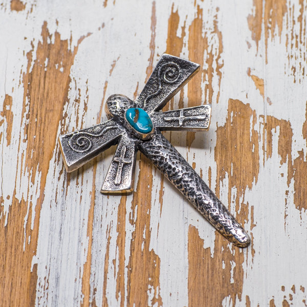 Gary Custer Morenci Turquoise Dragonfly Pendant JE180138