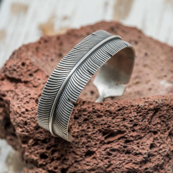 Sterling Silver Feather Cuff Bracelet by Freddie Maloney JE180153
