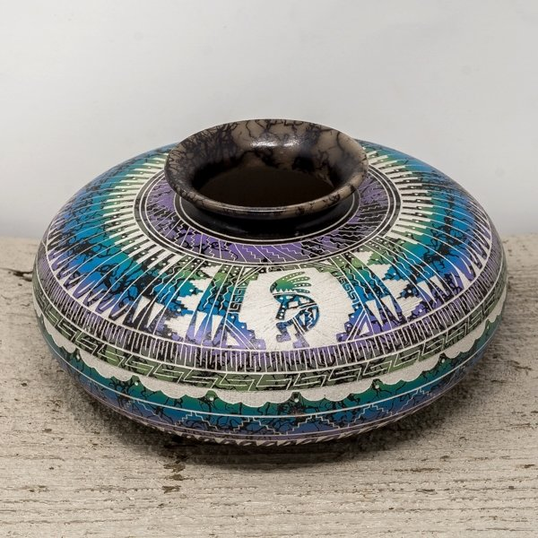 Navajo Horse Hair Pottery with Kokopelli by Myron Charley GA180159