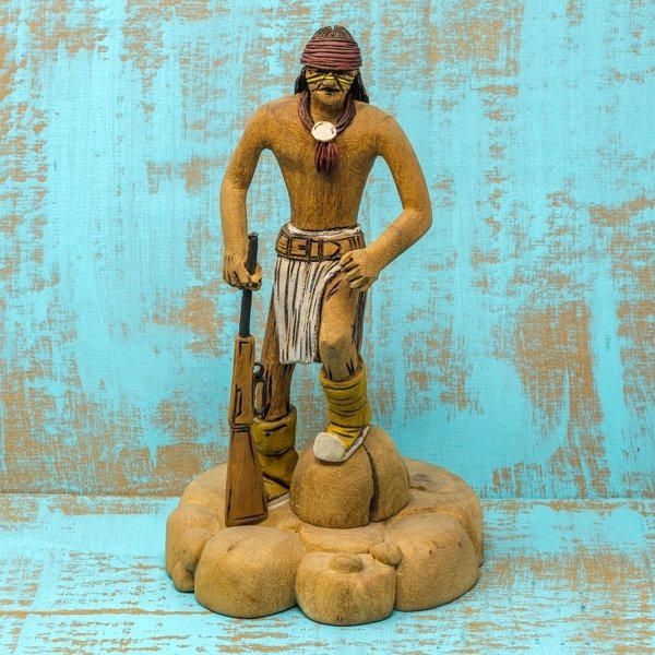Delbert Upshaw Carving - Man with Rifle and Medallion GA180174