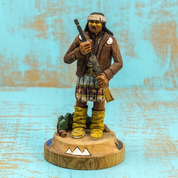Delbert Upshaw Carving - Man with Rifle, Decorated Base GA180179