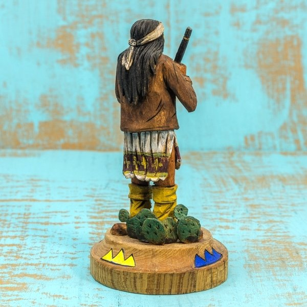 Delbert Upshaw Carving - Man with Rifle, Decorated Base - Back View
