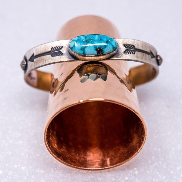 Kingman Turquoise Bracelet - Close Up Top View