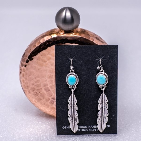 Martha Willeto Dragonfly Nevada Turquoise Earrings JE180197