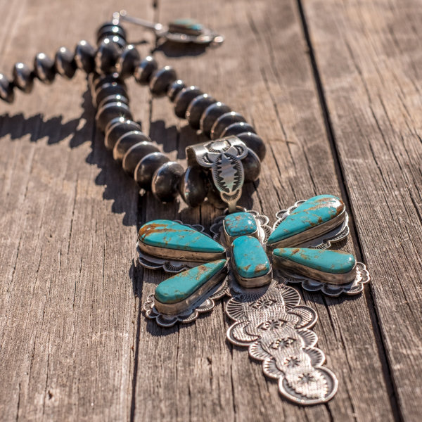 Kingman Turquoise & Navajo Pearl Necklace by Dio & Christina Luna JE180204
