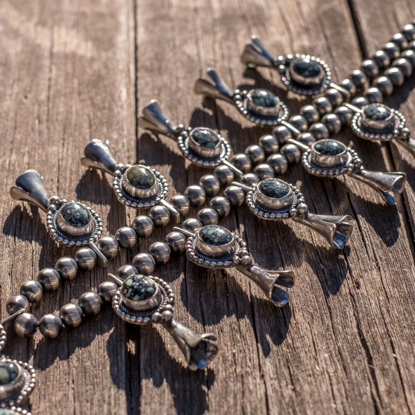 Lander Blue Turquoise Squash Blossom Necklace - Close Up