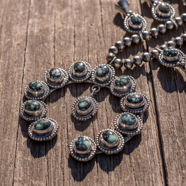 Lander Blue Turquoise Squash Blossom Necklace - Top View