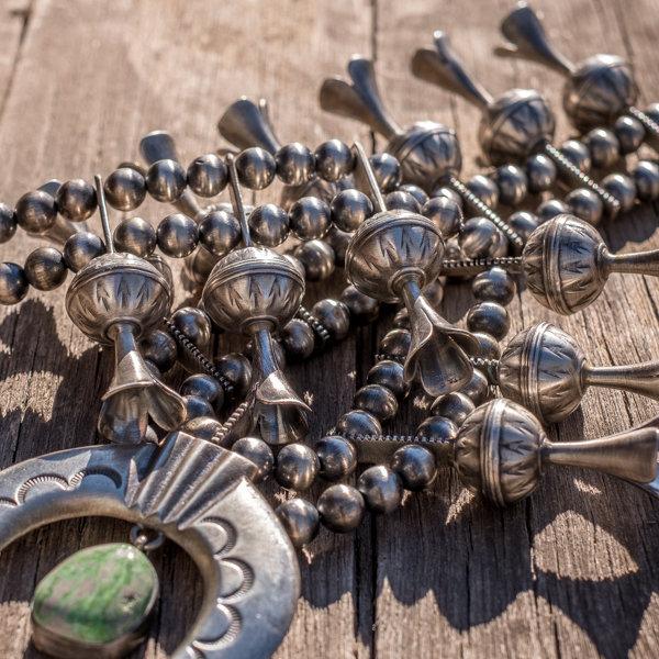 Carico Lake Turquoise Squash Blossom Necklace - Close Up
