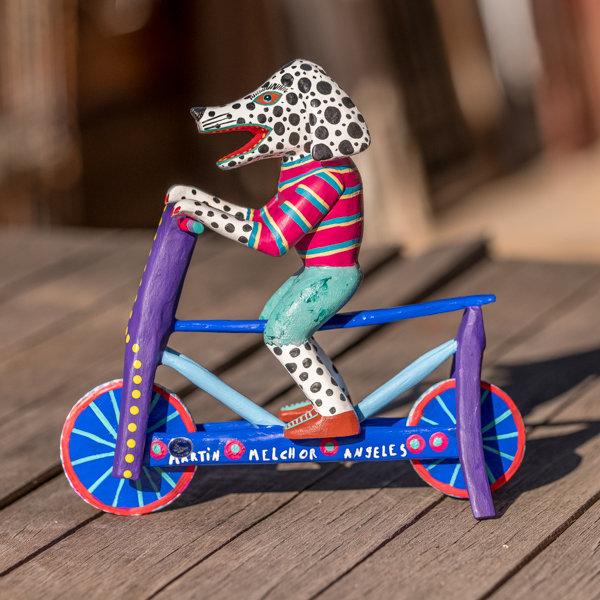 Oaxacan Wood Carving - Dog on Bike SO180035
