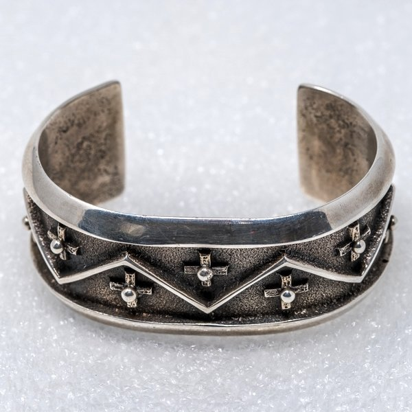 Sterling Silver Cross Cuff Bracelet by Aaron Anderson - Top Front