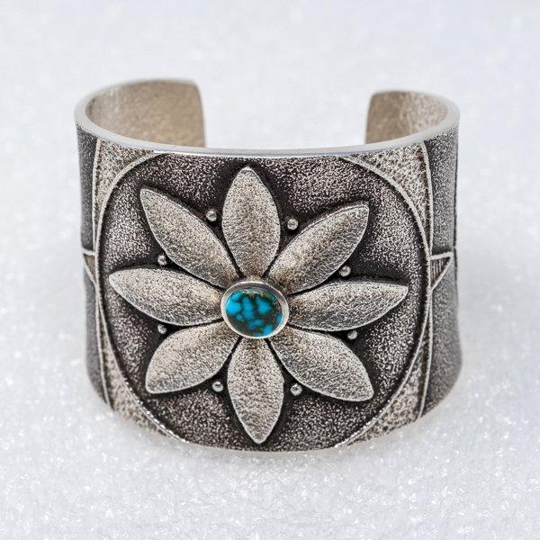 Apache Blue Turquoise Flower Bracelet by Rebecca Begay JE180212
