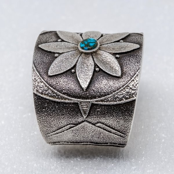Apache Blue Turquoise Flower Bracelet by Rebecca Begay - Top Side View