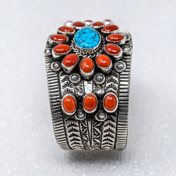 Kingman Turquoise & Coral Bracelet by Tillie Jon - Side View