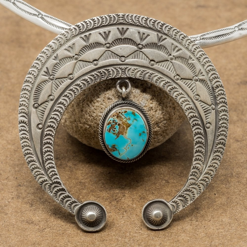 Kingman Turquoise Naja Pendant by Herman Smith JE180215