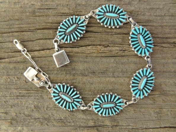 Image of the Sleeping Beauty turquoise needle point bracelet with 6 clusters the needlepoint design