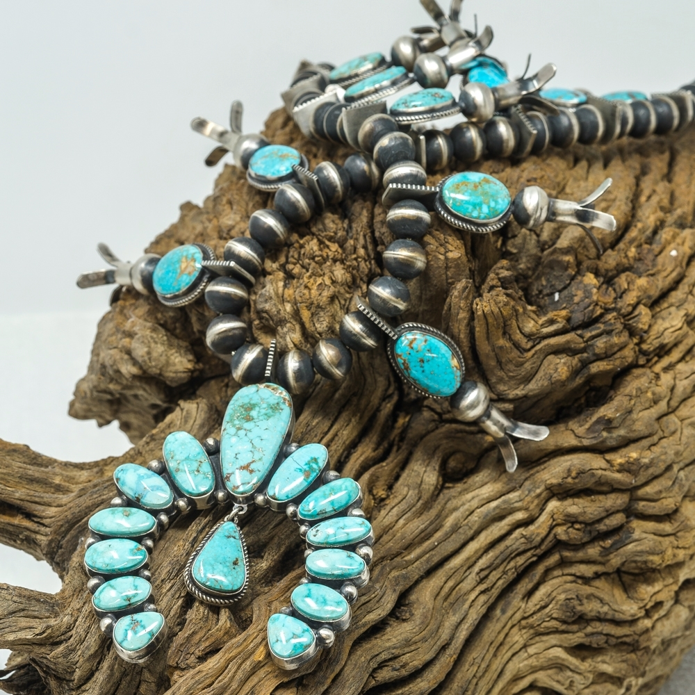 Turquoise Mountain Squash Blossom Necklace - Close View