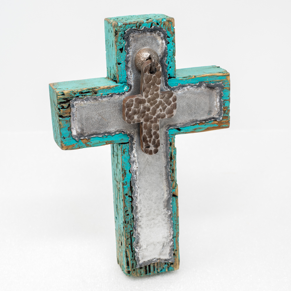 Turquoise Painted Wood Cross with Metal Cross SO190009