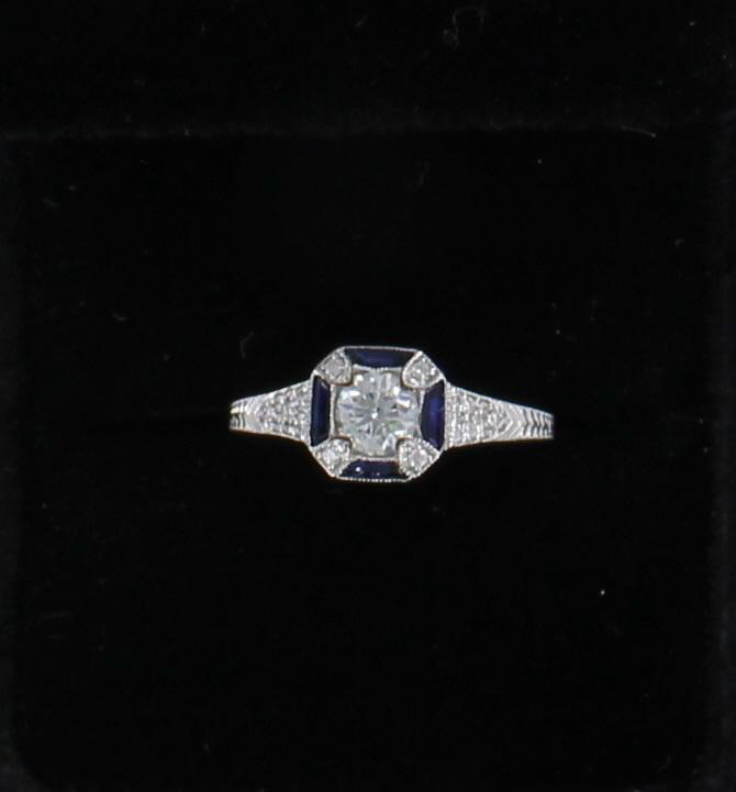 18KTW DIAMOND AND SAPPHIRE ENGAGEMENT RING 171-24