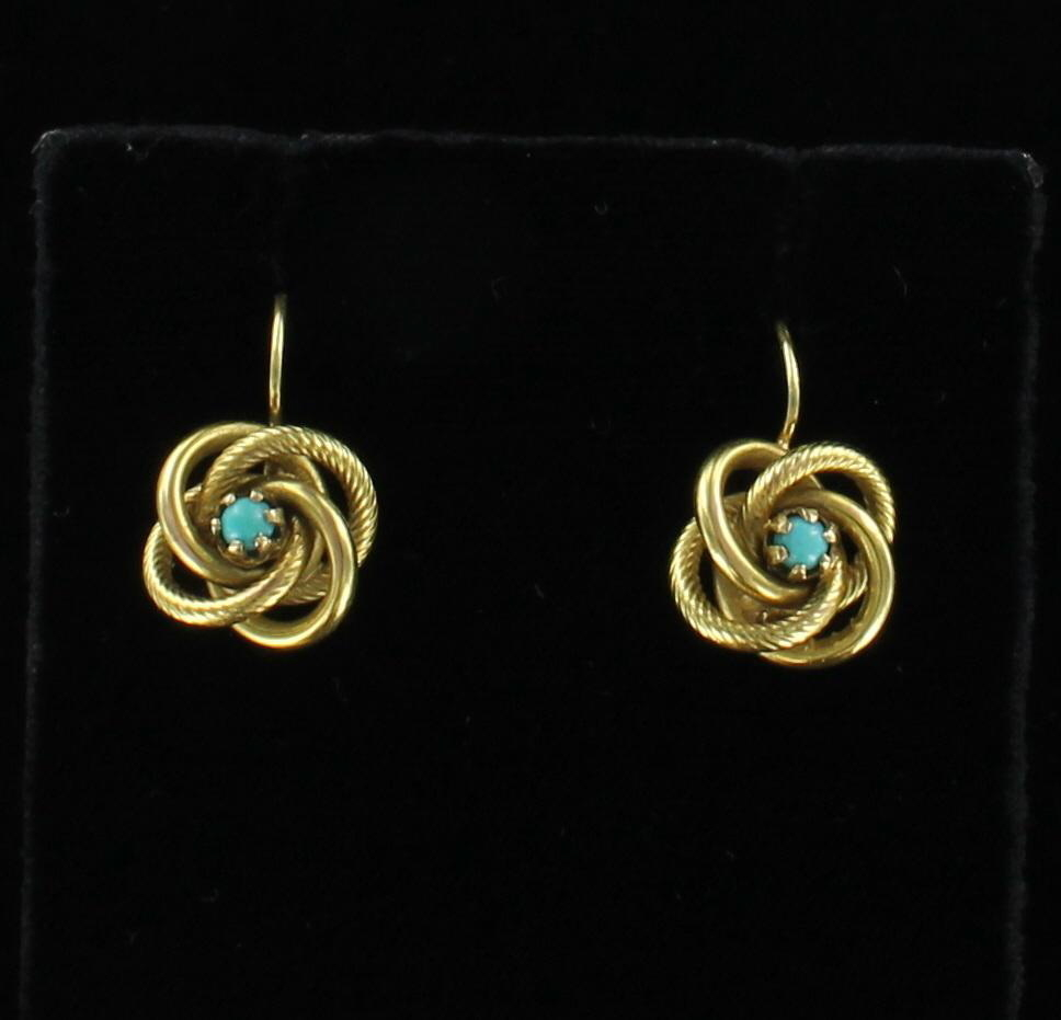 18KT VICTORIAN TURQUOISE EARRINGS 101-2914