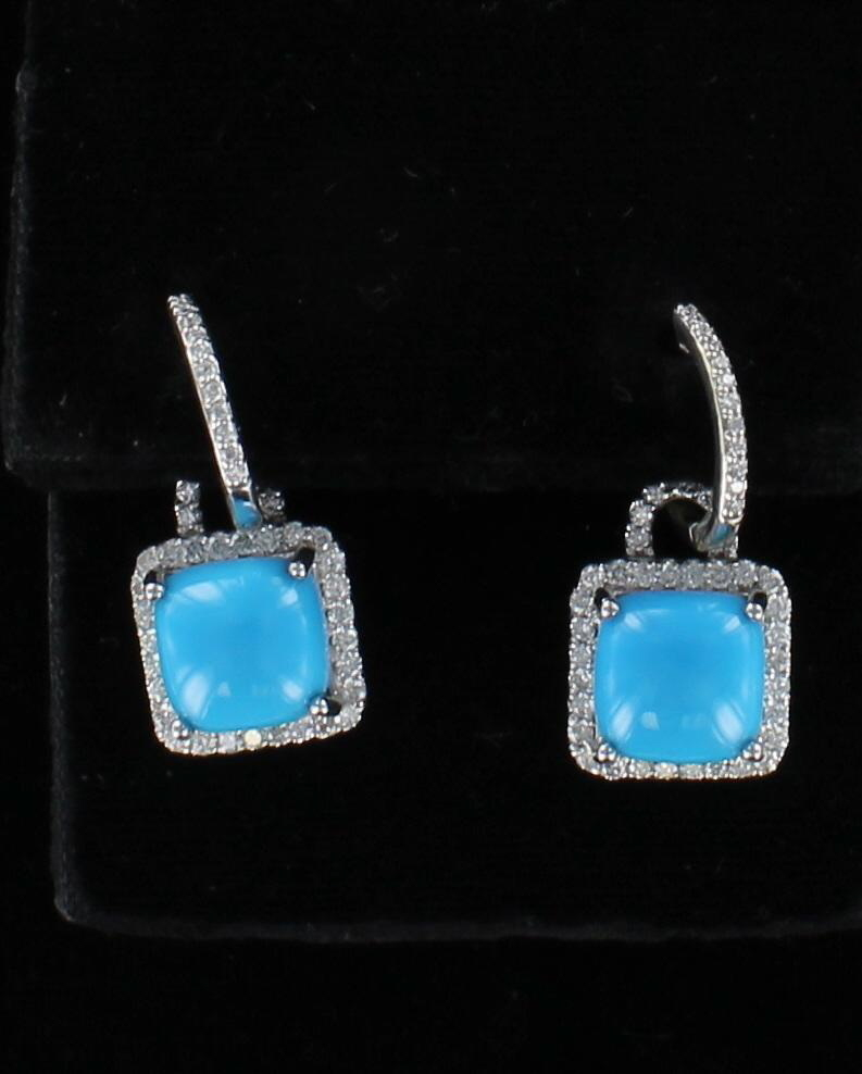 14KT TURQUOISE AND DIAMOND EARRINGS 262-11