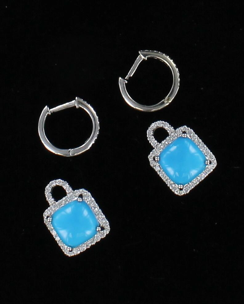 14KT TURQUOISE AND DIAMOND EARRINGS