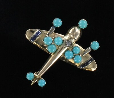 14KT TURQUOISE AIRPLANE PIN WITH SAPPHIRES AND DIAMOND