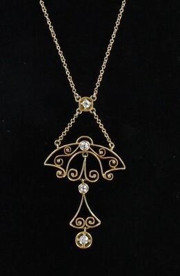 14KT DIAMOND LAVILIER CIRCA 1920