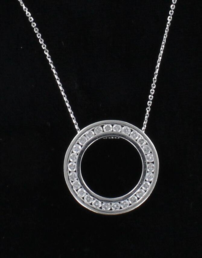 14KT/18KT 1.0 CT TW DIAMOND CIRCLE PENDANT