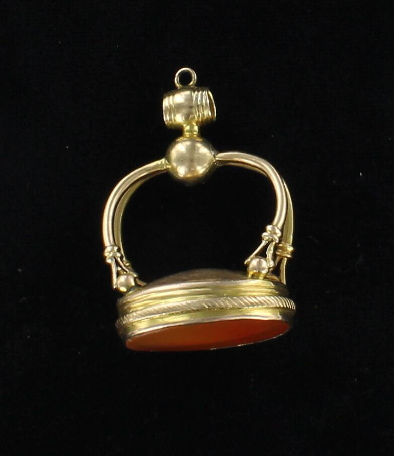 14KT CARNELIAN FOB, EARLY 1900'S