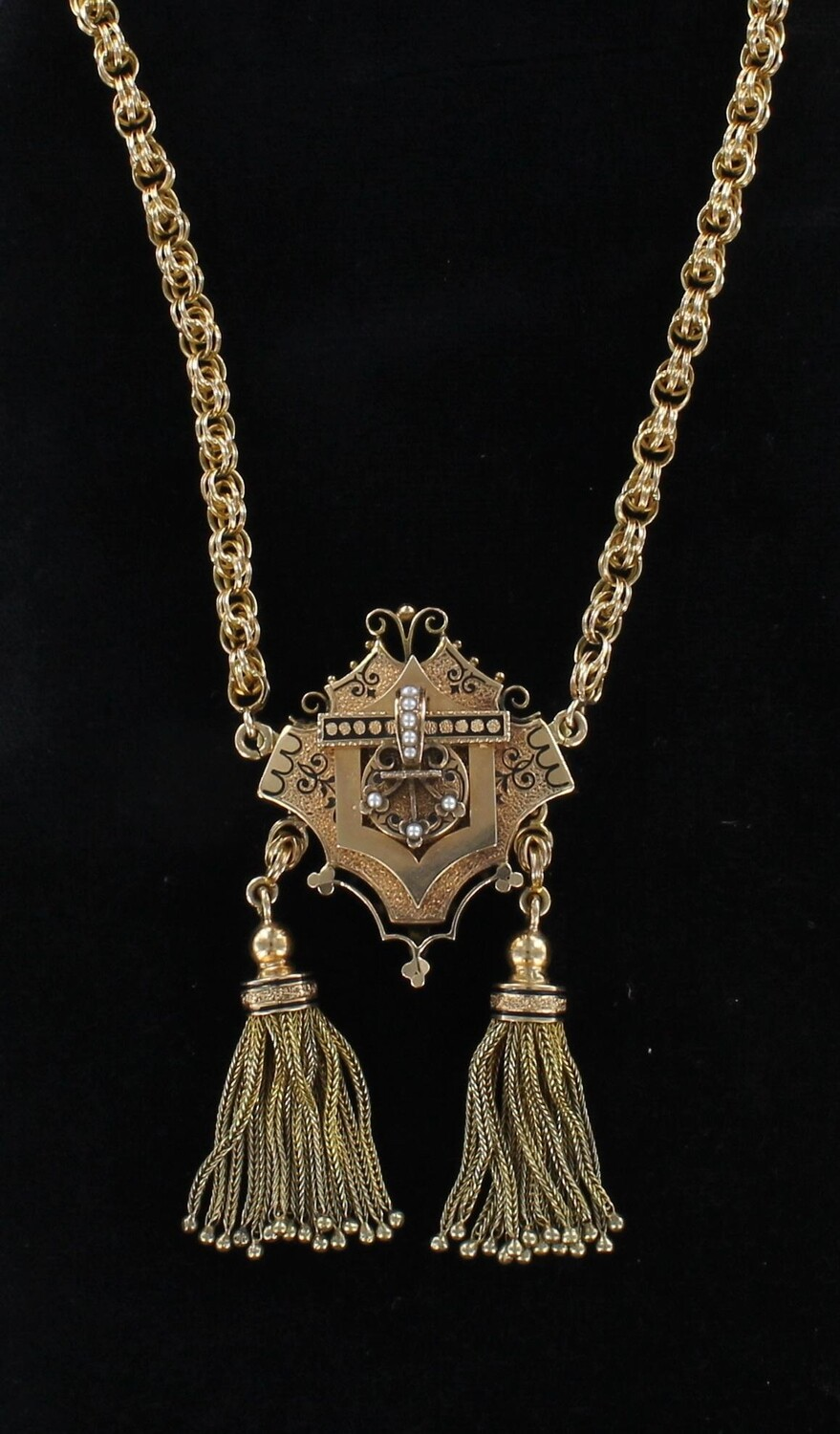 14KT VICTORIAN TASSEL NECKLACE/PIN