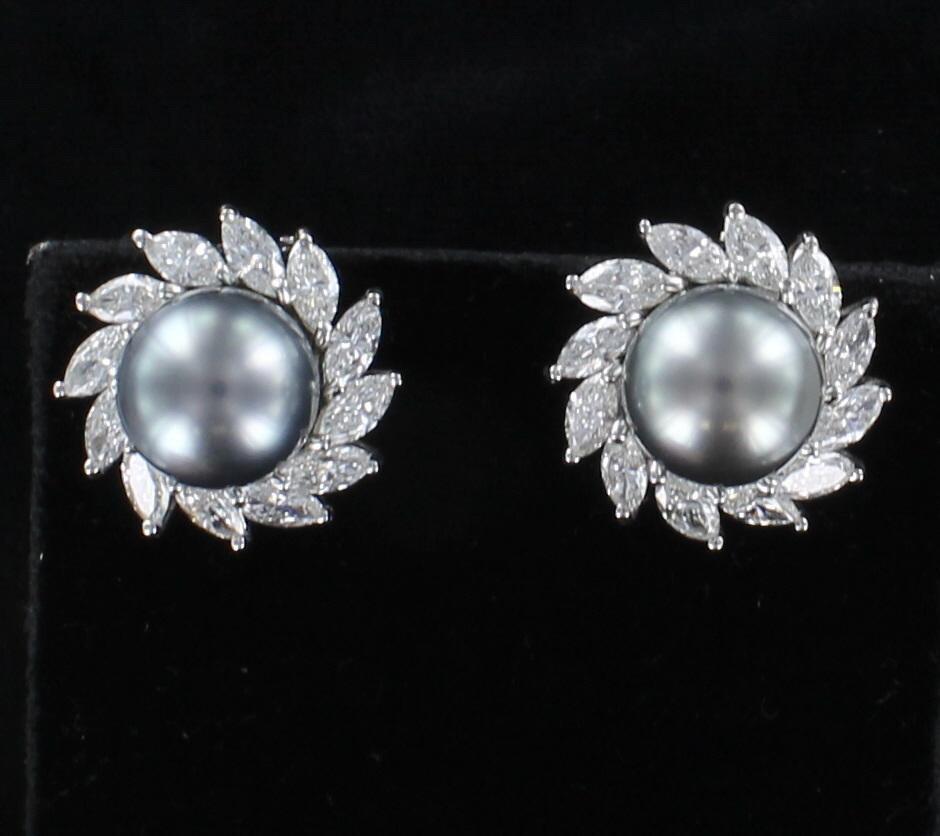 18KT 6.0 CT TW DIAMOND BLACK PEARL EARRINGS