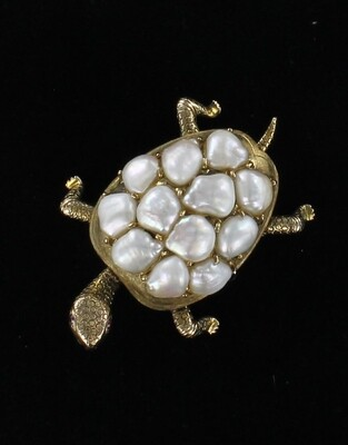 14KT PEARL TURTLE PIN