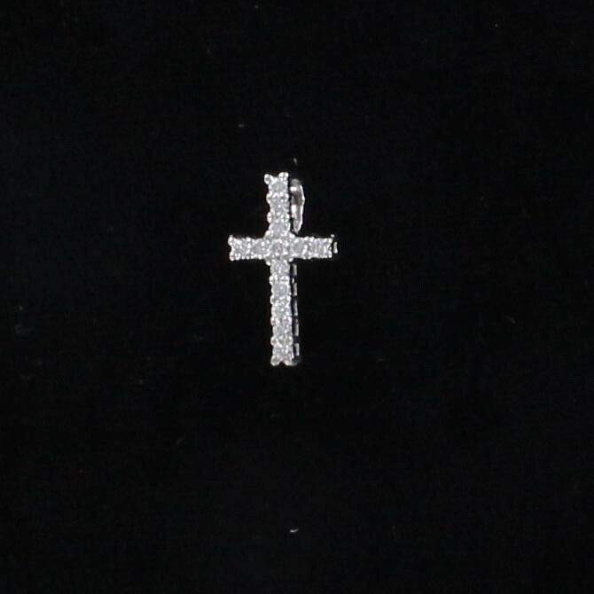 14KT .13 CT TW DIAMOND CROSS